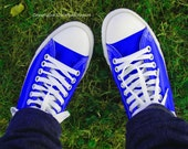 Fine Art Photography Shoe Art  Photo Greeting Card Bright Blue Converse Shoes on Grass