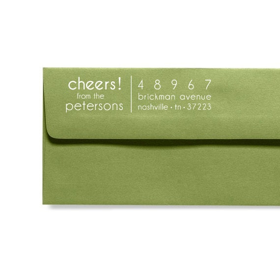 Custom Address Stamp - Personalized Address Stamp - Modern Style - Cheers Greeting Text - Housewarming - New Year - Home Office Stamp