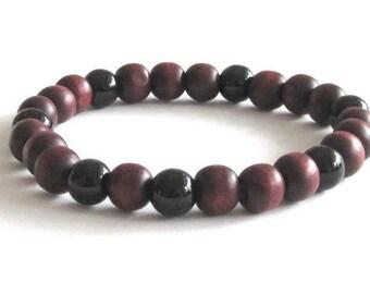 Obsidian Brown Men Wood Bracelet, Mala Beads Men Beaded Bracelet, Chakra Yoga Bracelet, Protection Bracelet, Graduation Gift for Yoga Friend