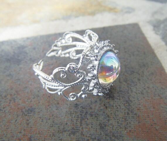 Vintage Iridescent Sun Filigree Silver Ring