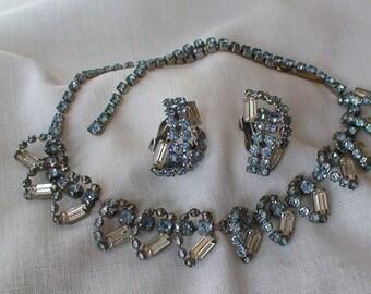 Baguette and Blue Rhinestone Demi Parure Necklace, Clip Earrings...Prong Set Stones, Brilliant Baguette Cut
