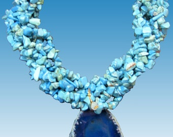 6 Strands of Teal Blue Turquoise  Howlite Nuggets  Chips and Agate Slice Necklace  Large and Bold . Modern Jewelry .