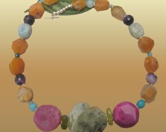 Natural Green Garnet Big Irregular Stone Agate carnelian  Necklace xLarge XL