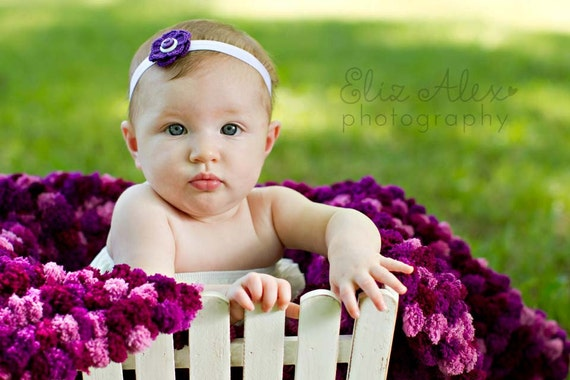 Purple Crochet Flower Headband, Purple Baby Headband Purple Toddler Headband, Newborn to Teenager Size (Item ----/1282/1283/648)