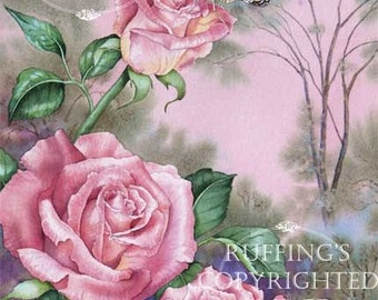 Painted Lady Butterfly and Pink Roses Giclee Fine Art Floral Print, Signed A E Ruffing, on 8.5 x 11 inch art paper