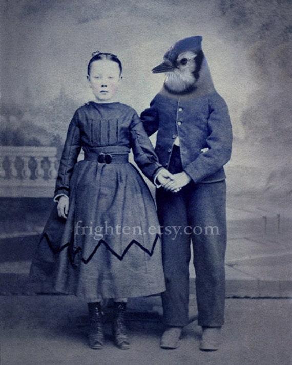 Blue Jay Art, Bird Art Print, Collage Art, 5x7 Inch Print, Couple Holding Hands, Anthropomorphic, Romantic Art, Nursery Decor