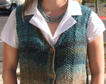 Knitting Pattern,India,knit vest,women,Noro Silk Garden,wool,knit waistcoat,teal,bronze,sweater vest,easy knit,fall,gift for her,fitted