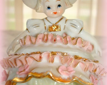 Bloomer Girl Figurine by Geo. Z Lefton Vintage Mid-Century  Ruffled China Lace Gold Trim Poseable Two Ways Lefton's Signature Visible