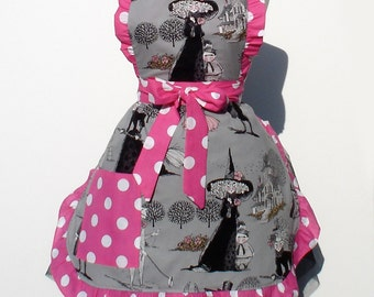 Free Shipping Retro Halloween  Apron  Vintage Inspired Witch Hats, Houses and Polka Dots FREE SHIPPING