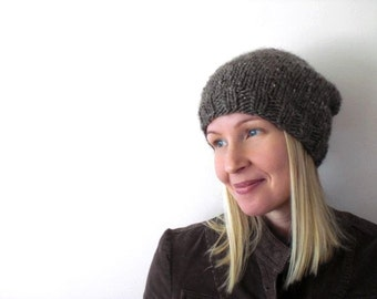 Hand knit slouchy hat / earthy brown / urban rustic brown / warm winter hat / soft wool blend / winter accessory / head cozy / simple