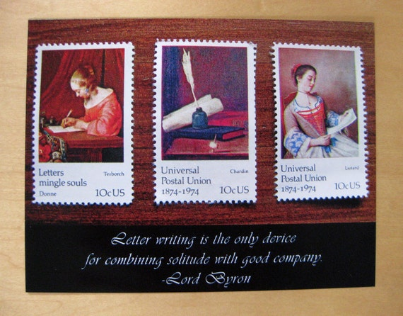 Solitude and good company: Lord Byron letter-writing quote postcard set, pack of 5