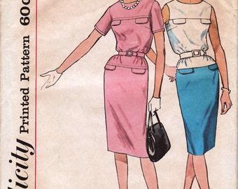 1960's Misses' Dress  Simplicity 4398  Size 12  Bust 32