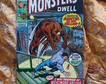 Where Monsters Dwell No 4 Marvel Comics 1970 Medusa, Sci Fi Horror Ditko, Reed Crandell, Don Heck, Marie Severin, VF to NM Condition