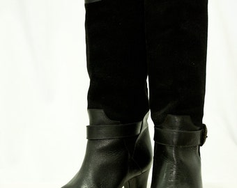 80s STUDDED Black Suede Boots 6