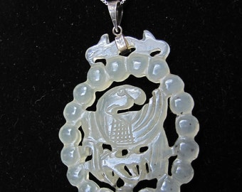 Large Carved Light Celadon Jadeite Jade Pendant Bird Bamboo Design / Marked