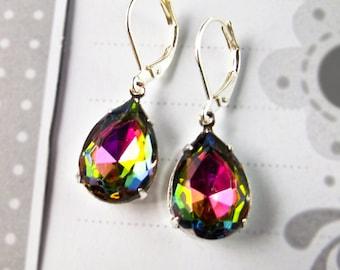 Rainbow Earrings, Faux Mystic Topaz Earrings Dangle Earrings November Birthstone Christmas Gift Idea Prom Wedding Bridesmaid Jewelry