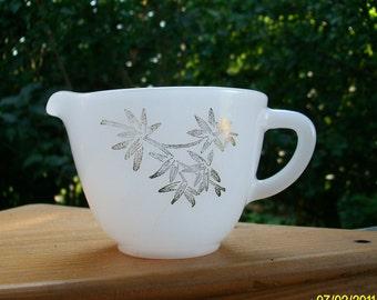 Creamer / Vintage White Gold Silver Embellished Creamer / White Milk Glass
