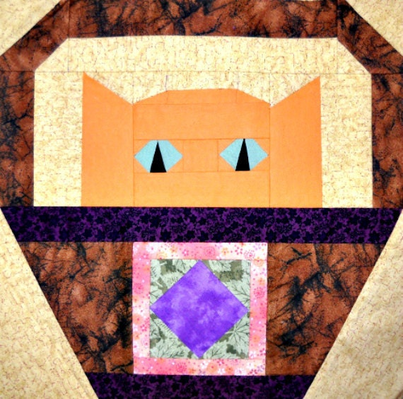 Square in a Square Cat Quilt Block Pattern