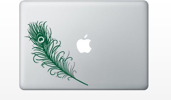 peacock feather laptop DECAL- macbook iPad computer- Gadget Art / Accessory - life size - nature  Geek Chic perfect gift