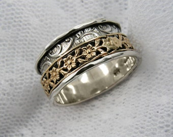 Spinner ring.worry rings. Meditation Ring Sterling silver gold floral spinner ring. Wide spinner ring.Birthday gift (gsr-7051-966-972-965).