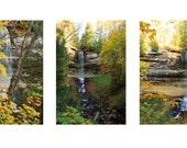 Autumn Fall Colors Waterfalls Yellow Birch Tree Brown Pictured Rocks Munising Falls MIchigan Upper Peninsula Series Set of 3 Fine Art Photos