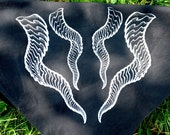 Dragon Horns Bandana - Black Cotton - Silver Ink - Screen Printed