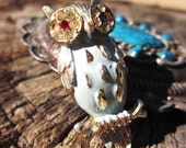 1930s Owl Brooch w/ Ruby & Gold - From Estate of a Hollywood Starlet