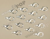 Alloy Lobster Clasp, Silver, 7mm x 12mm, Hole: 1.2mm (2-5G)