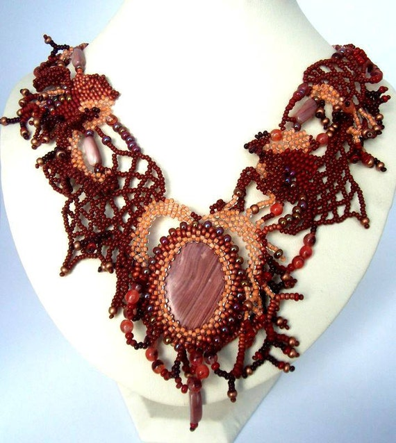 Brown statement necklace, Beaded necklace, Artistic jewelry, Unique gift for her, Handmade necklace, Freeform necklace