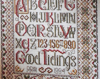 Patricia Andrle CARDINAL CHRISTMAS SAMPLER - Counted Cross Stitch Pattern Chart - fam