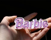 Barbie Font Custom Nameplate Necklace Laser Cut Acrylic
