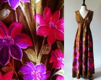 Vintage 60s Maxi Dress, Flower Print Dress, Brown Cotton Dress, Long Summer Dress