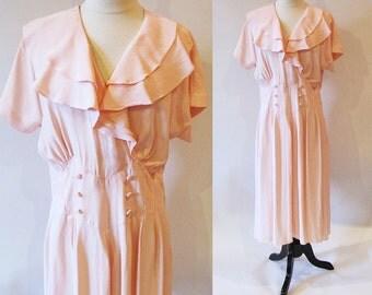 Pink 80s Dress, Rayon Ruffle Dress