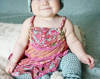 Baby CROCHET PATTERN:  'Rain Drop' Crochet Hat & Thigh-High Booties