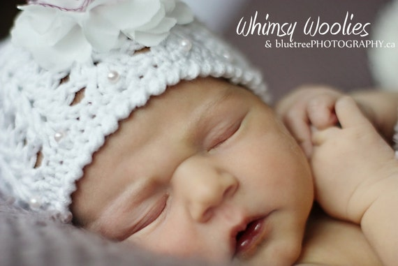 Baby Crochet Hat Pattern:  'Angel Cake' with Fabric Flower, Christening, Baptism