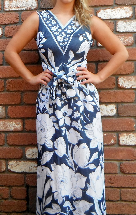 RESERVED Beautiful  Bohemian 1970s Navy Floral Maxi Dress