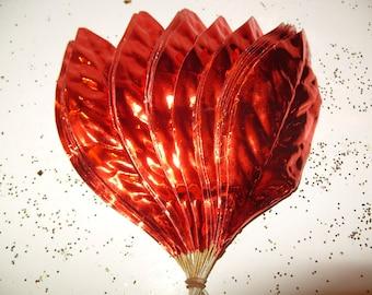 Vintage Millinery Flower Red-Orange Paper Craft Leaves Foil Garland Halloween Wreath Home Decor Y