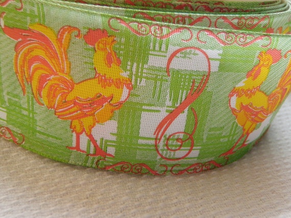Vintage Ribbon Chicken Rooster Wire Edge Orange Green Yellow 15 yd roll