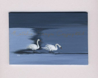 SALE ORIGINAL Painting 4x6, Geese on a Shore, Landscape, Birds, White Birds, Geese, Swan, White, Blue, Denim Blue, Water View, Waterscape