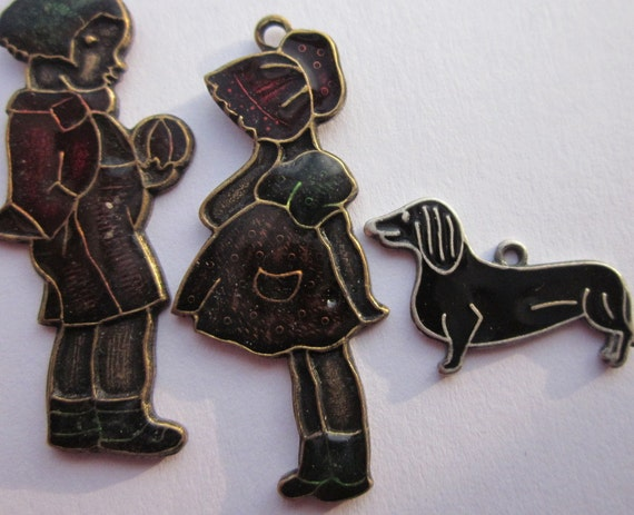 Detailed Vintage Enameled Girl, Boy, and Dachshund