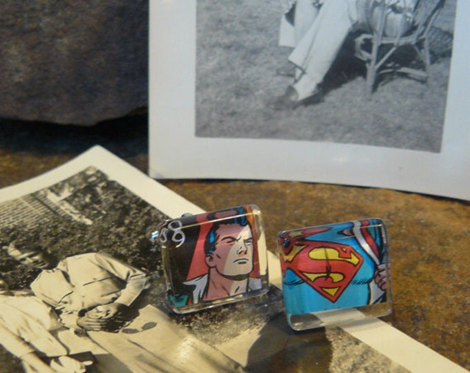 FREE SHIPPING...It's a Bird...It's a Plane...No, it's Superman...Recycled Vintage Stamp Cufflinks under glass