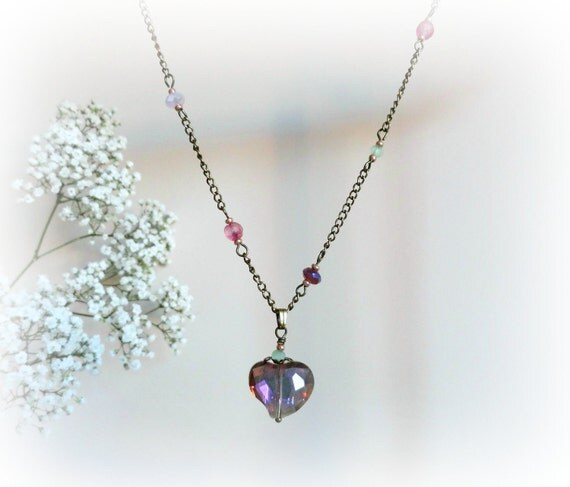 Scabiosa - Romantic necklace Pink Glass heart  mauve fuchsia mint green purple beads rosebud Gift for her Valentine idea