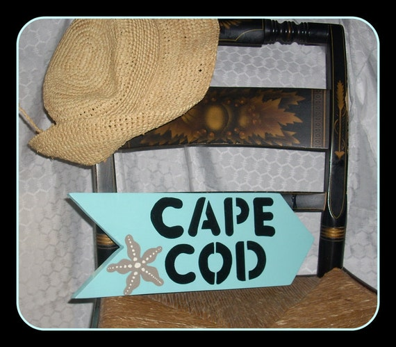 CAPE COD  SIGN, Hand Painted Sign, Cape Cod, Cape Cod Decor, Massachusetts Sign, Wooden Sign, Beach House Decor, Christmas Gift