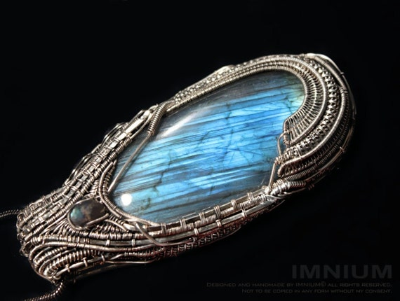 Big blue labradorite pendant sterling silver - gorgeous stone OOAK statement jewelry 95x40mm teal oval luxe heady wrap