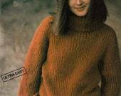 1980s VINTAGE KNITTING PATTERN -Women's Polo Neck Sweater, Boxy Oversized Boyfriend Fit, Turtleneck, Easy Knit, Instant Download Pdf 0078