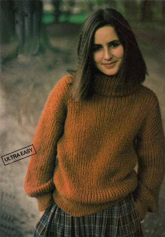 Knitting Patterns Womens Turtleneck Sweaters : 1980s VINTAGE KNITTING PATTERN Womens Polo by GrannyTakesATrip