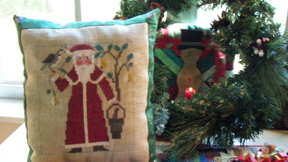 Partridge In A Pear Tree Santa Cross Stitch Pillow shelf tuck collectible