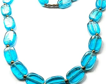 Vintage Necklace Art Glass Turquoise Hipster