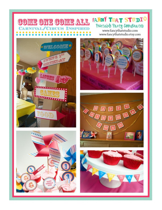 RESERVED for Delsey - Carnival Circus Inspired  Come One Come All  Carnival Party Printables FULL Collection