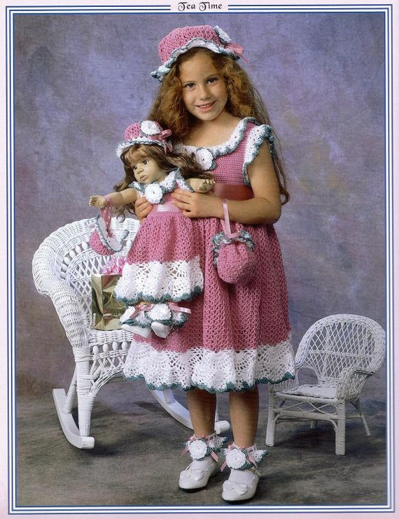 Dresses to Crochet for Dolly and Me by Delsie Rhoades size 2-6  & 18 inch doll pattern download through Etsy